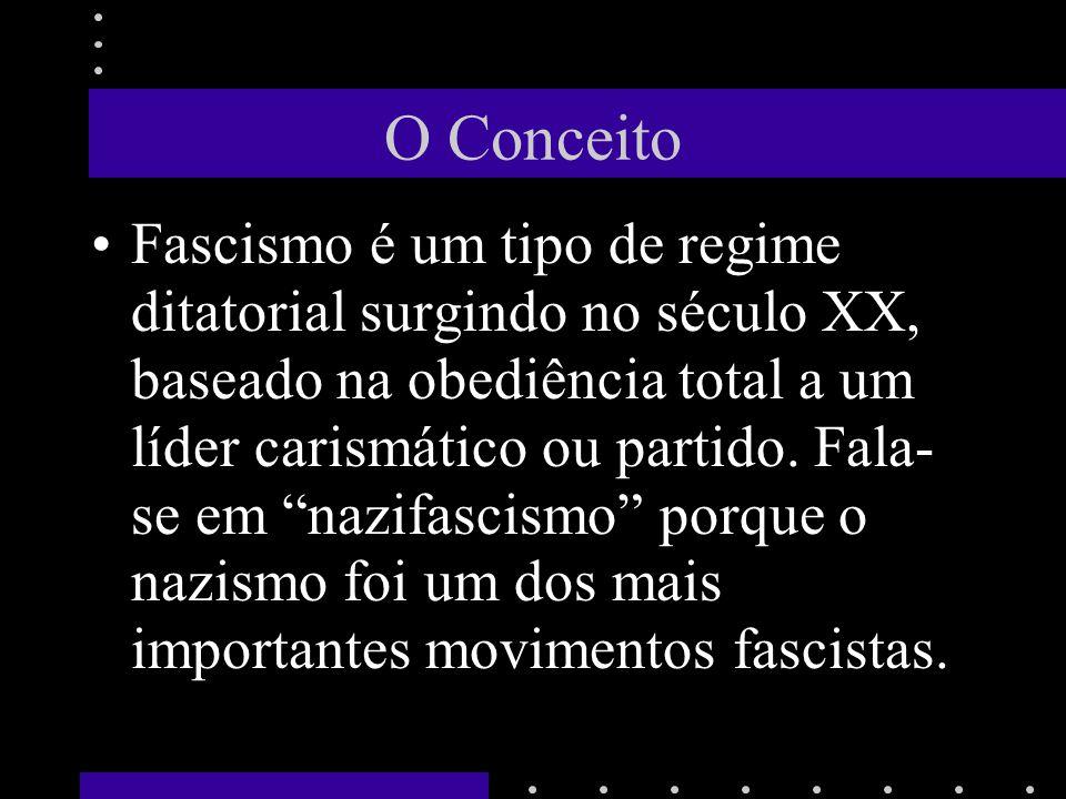 O Conceito Fascismo é um tipo de regime ditatorial surgindo no século XX, baseado na obediência total a um líder carismático ou partido. Fala- se em n