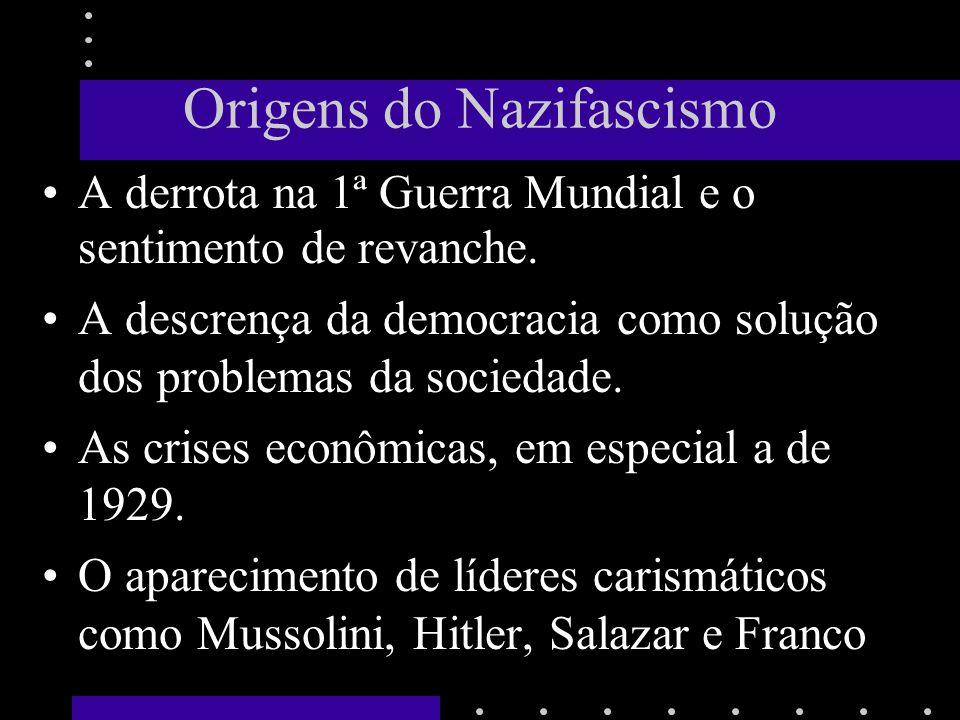 Origens do Nazifascismo A derrota na 1ª Guerra Mundial e o sentimento de revanche. A descrença da democracia como solução dos problemas da sociedade.