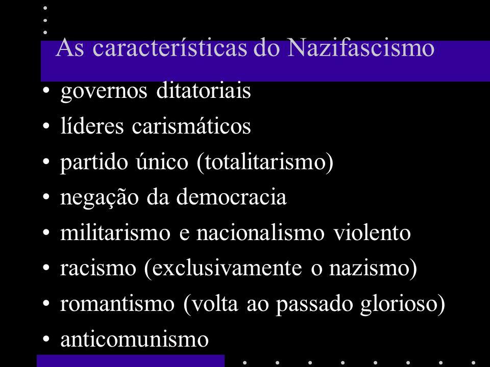 As características do Nazifascismo governos ditatoriais líderes carismáticos partido único (totalitarismo) negação da democracia militarismo e nacionalismo violento racismo (exclusivamente o nazismo) romantismo (volta ao passado glorioso) anticomunismo