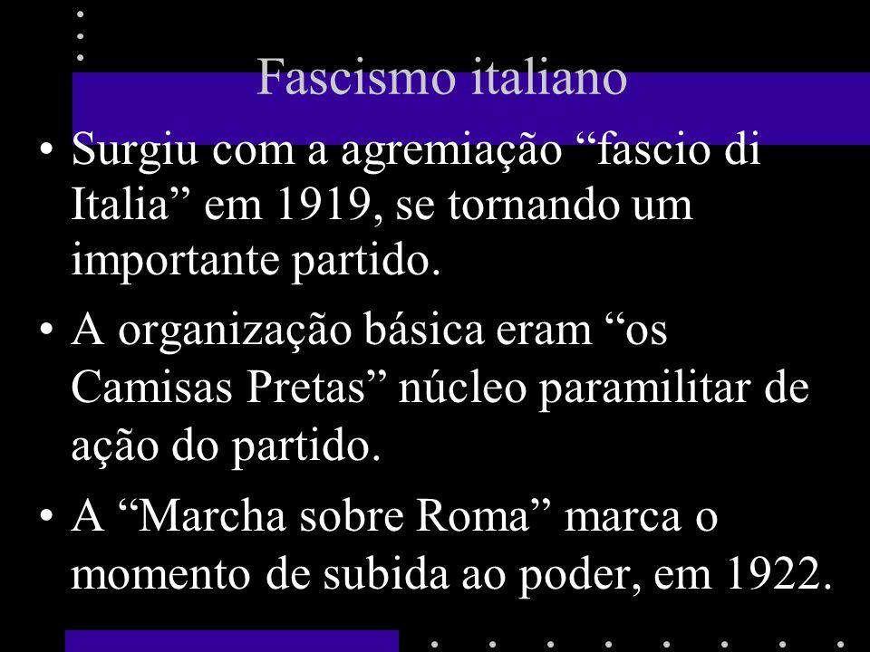 Fascismo italiano Surgiu com a agremiação fascio di Italia em 1919, se tornando um importante partido. A organização básica eram os Camisas Pretas núc