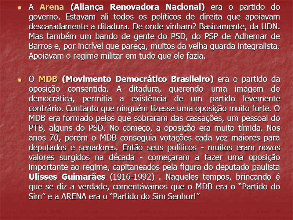 A Arena (Aliança Renovadora Nacional) era o partido do governo.