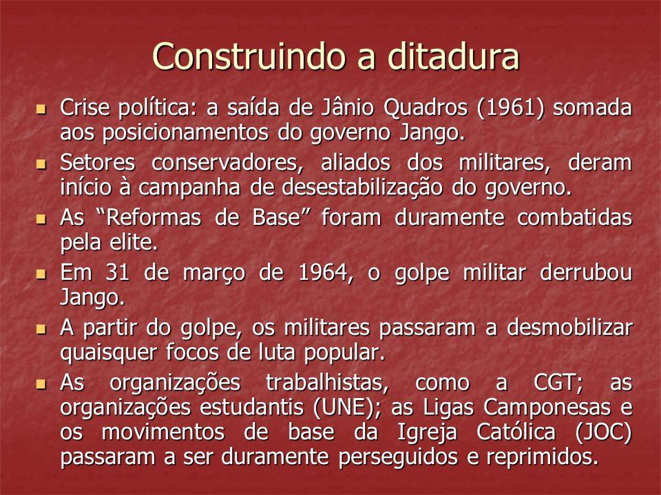 Construindo a ditadura Construindo a ditadura Crise política: a saída de Jânio Quadros (1961) somada aos posicionamentos do governo Jango.