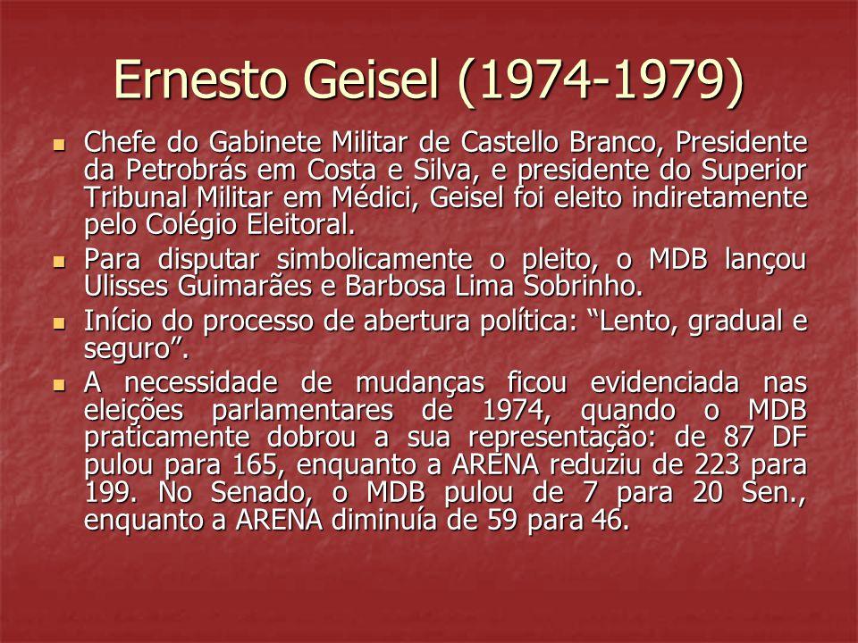 Ernesto Geisel (1974-1979) Chefe do Gabinete Militar de Castello Branco, Presidente da Petrobrás em Costa e Silva, e presidente do Superior Tribunal Militar em Médici, Geisel foi eleito indiretamente pelo Colégio Eleitoral.