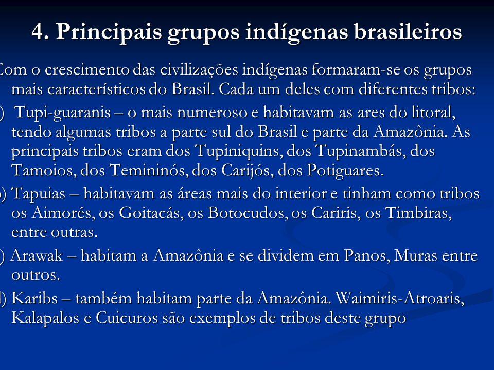 4. Principais grupos indígenas brasileiros Com o crescimento das civilizações indígenas formaram-se os grupos mais característicos do Brasil. Cada um