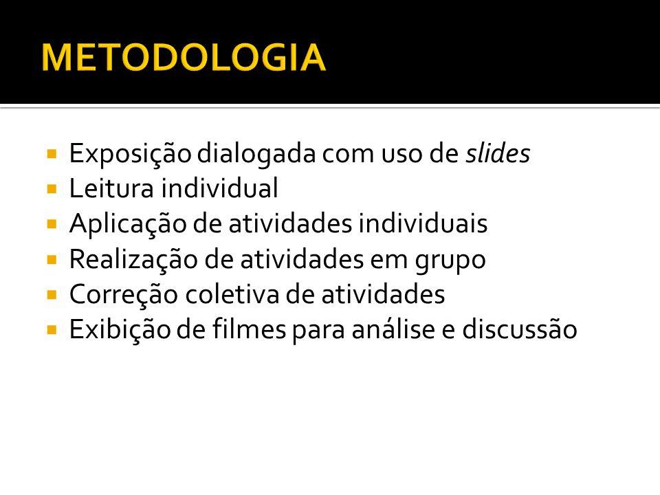 Exposição dialogada com uso de slides Leitura individual Aplicação de atividades individuais Realização de atividades em grupo Correção coletiva de at