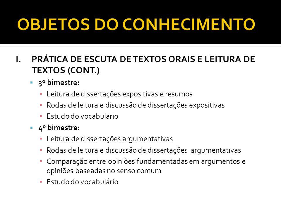 I.PRÁTICA DE ESCUTA DE TEXTOS ORAIS E LEITURA DE TEXTOS (CONT.) 3º bimestre: Leitura de dissertações expositivas e resumos Rodas de leitura e discussã