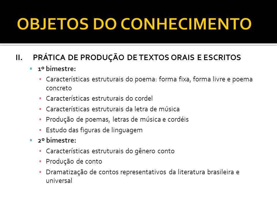 II.PRÁTICA DE PRODUÇÃO DE TEXTOS ORAIS E ESCRITOS 1º bimestre: Características estruturais do poema: forma fixa, forma livre e poema concreto Caracter