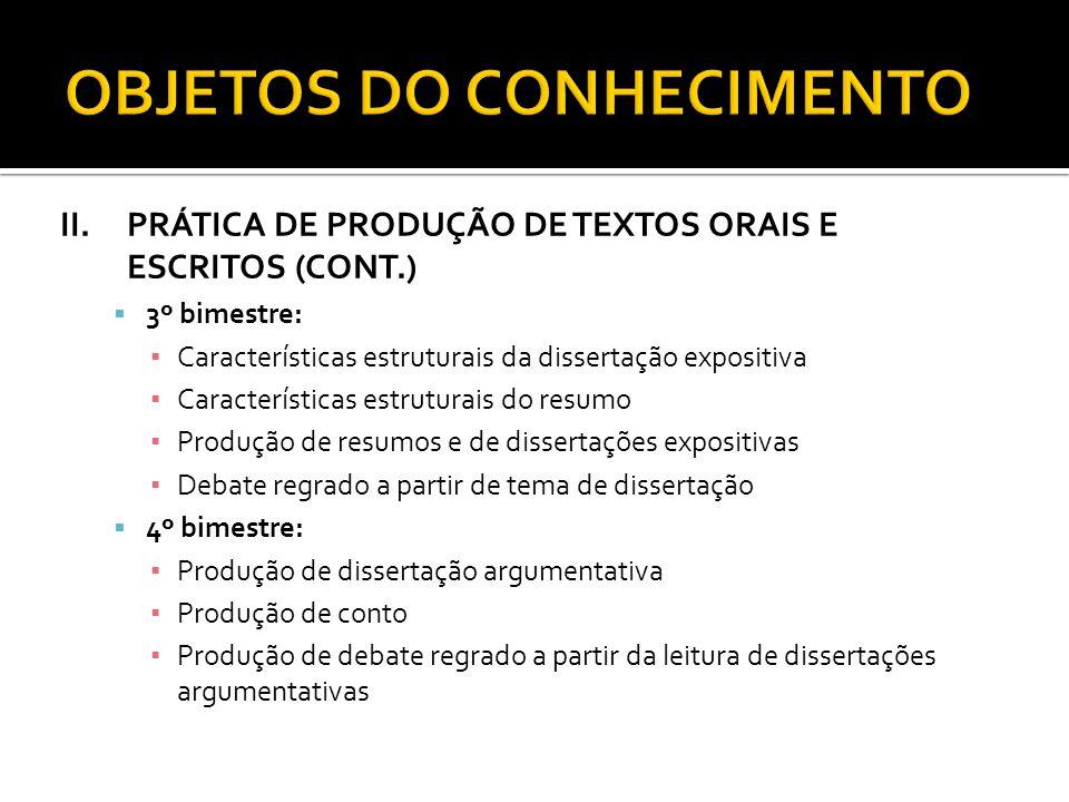 II.PRÁTICA DE PRODUÇÃO DE TEXTOS ORAIS E ESCRITOS (CONT.) 3º bimestre: Características estruturais da dissertação expositiva Características estrutura