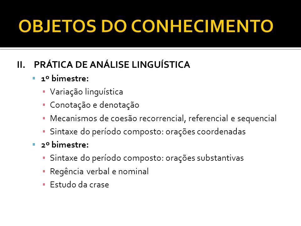 II.PRÁTICA DE ANÁLISE LINGUÍSTICA 1º bimestre: Variação linguística Conotação e denotação Mecanismos de coesão recorrencial, referencial e sequencial