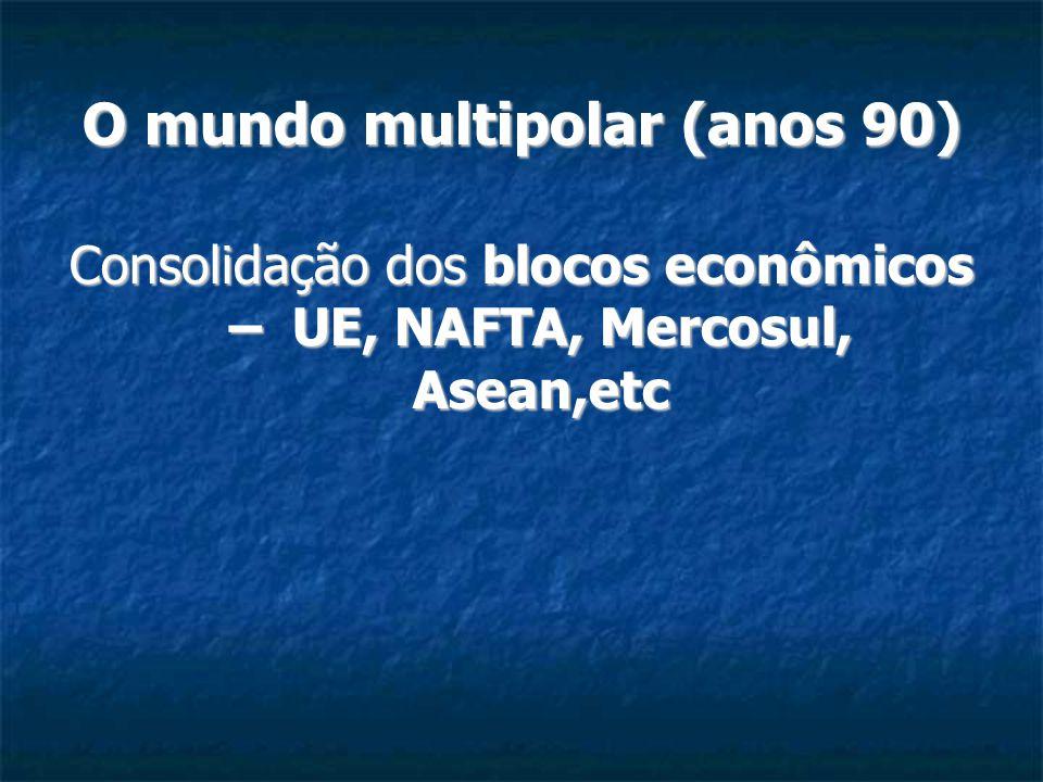 O mundo multipolar (anos 90) Consolidação dos blocos econômicos – UE, NAFTA, Mercosul, Asean,etc