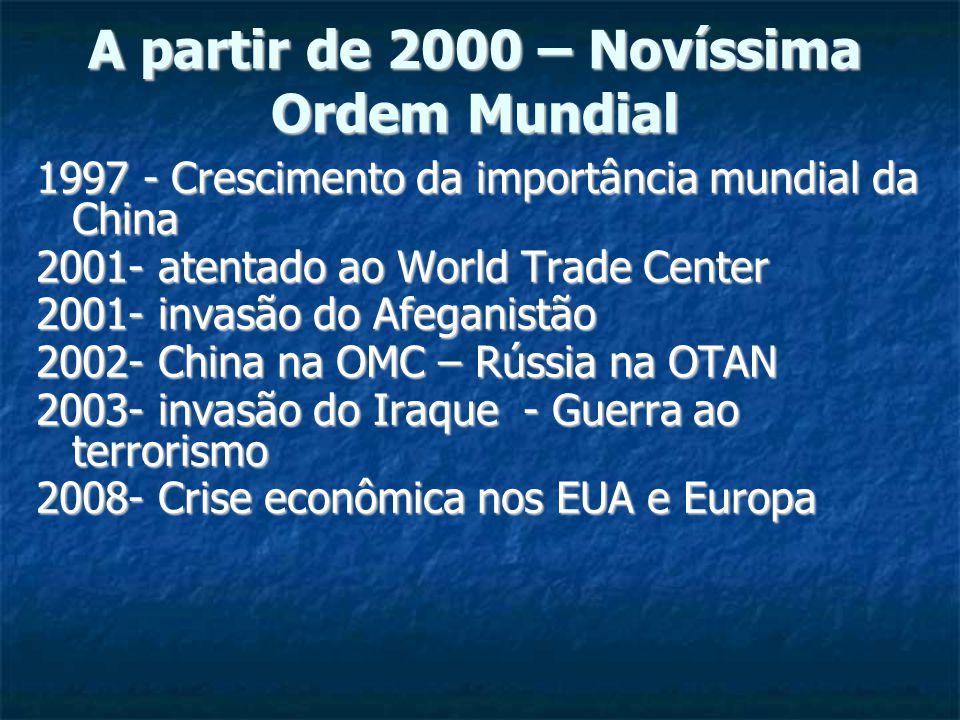 A partir de 2000 – Novíssima Ordem Mundial 1997 - Crescimento da importância mundial da China 2001- atentado ao World Trade Center 2001- invasão do Afeganistão 2002- China na OMC – Rússia na OTAN 2003- invasão do Iraque - Guerra ao terrorismo 2008- Crise econômica nos EUA e Europa