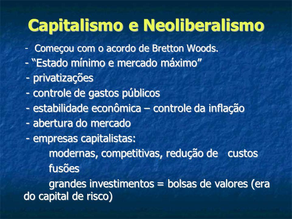 Capitalismo e Neoliberalismo Começou com o acordo de Bretton Woods.