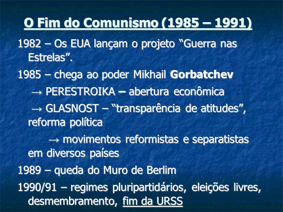 O Fim do Comunismo (1985 – 1991) 1982 – Os EUA lançam o projeto Guerra nas Estrelas.