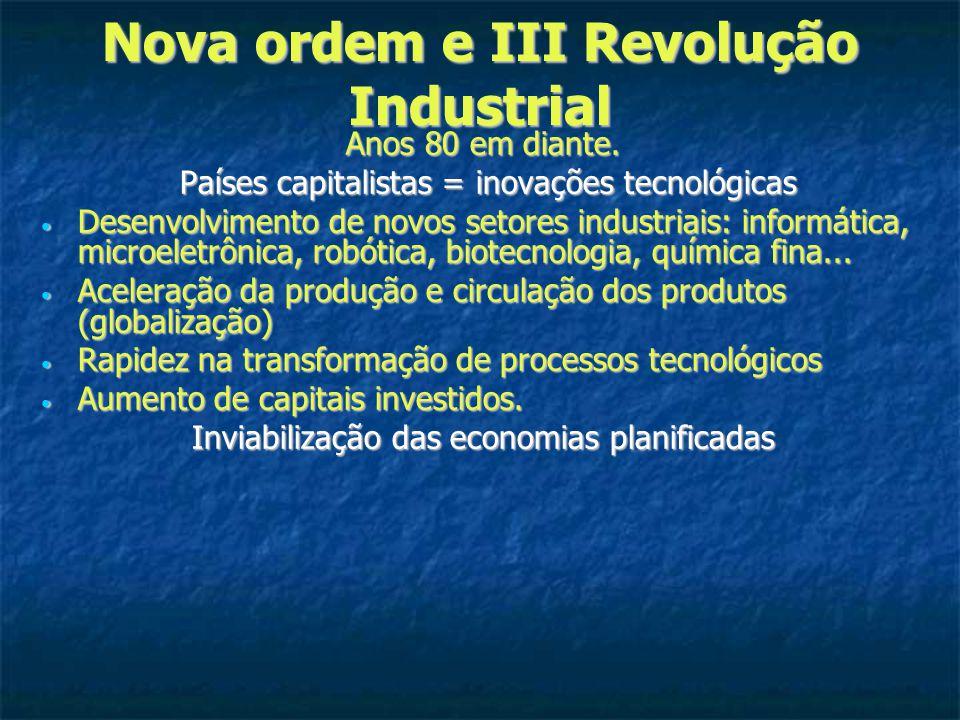 Nova ordem e III Revolução Industrial Anos 80 em diante.