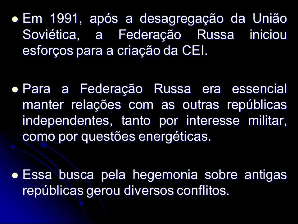 Em 1991, após a desagregação da União Soviética, a Federação Russa iniciou esforços para a criação da CEI. Em 1991, após a desagregação da União Sovié