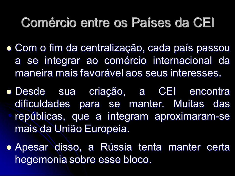 Comércio entre os Países da CEI Com o fim da centralização, cada país passou a se integrar ao comércio internacional da maneira mais favorável aos seu