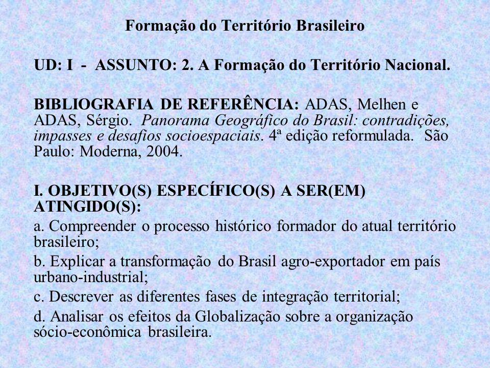 Formação do Território Brasileiro UD: I - ASSUNTO: 2. A Formação do Território Nacional. BIBLIOGRAFIA DE REFERÊNCIA: ADAS, Melhen e ADAS, Sérgio. Pano
