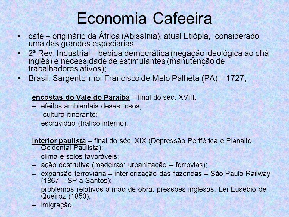 Economia Cafeeira café – originário da África (Abissínia), atual Etiópia, considerado uma das grandes especiarias; 2ª Rev. Industrial – bebida democrá