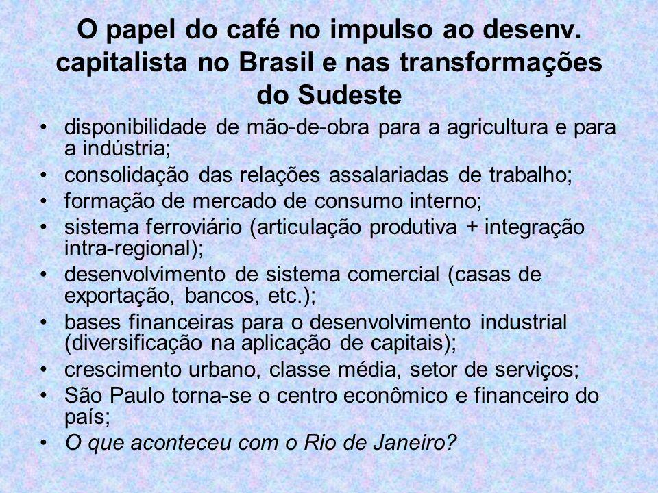 O papel do café no impulso ao desenv. capitalista no Brasil e nas transformações do Sudeste disponibilidade de mão-de-obra para a agricultura e para a