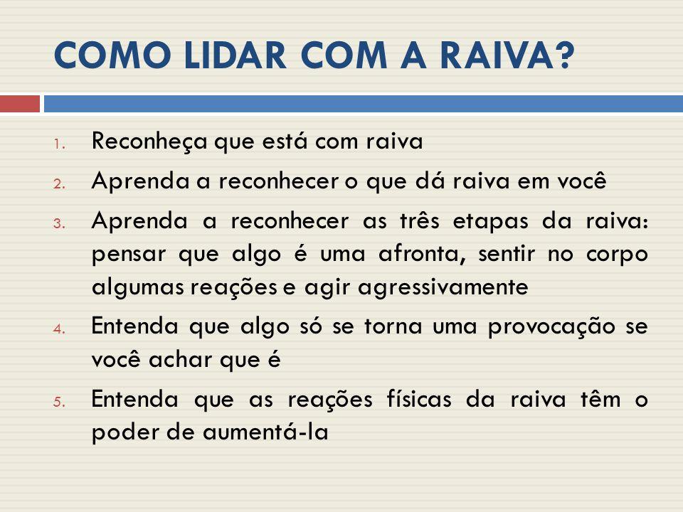 COMO LIDAR COM A RAIVA.1. Reconheça que está com raiva 2.