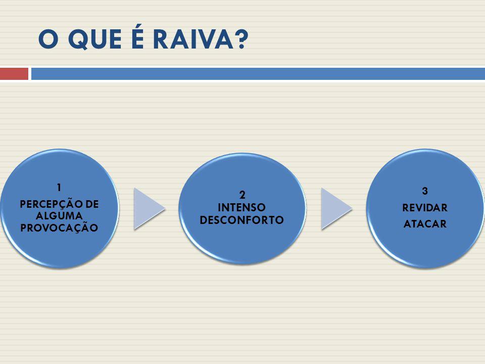 O QUE É RAIVA? 1 PERCEPÇÃO DE ALGUMA PROVOCAÇÃO 2 INTENSO DESCONFORTO 3 REVIDAR ATACAR