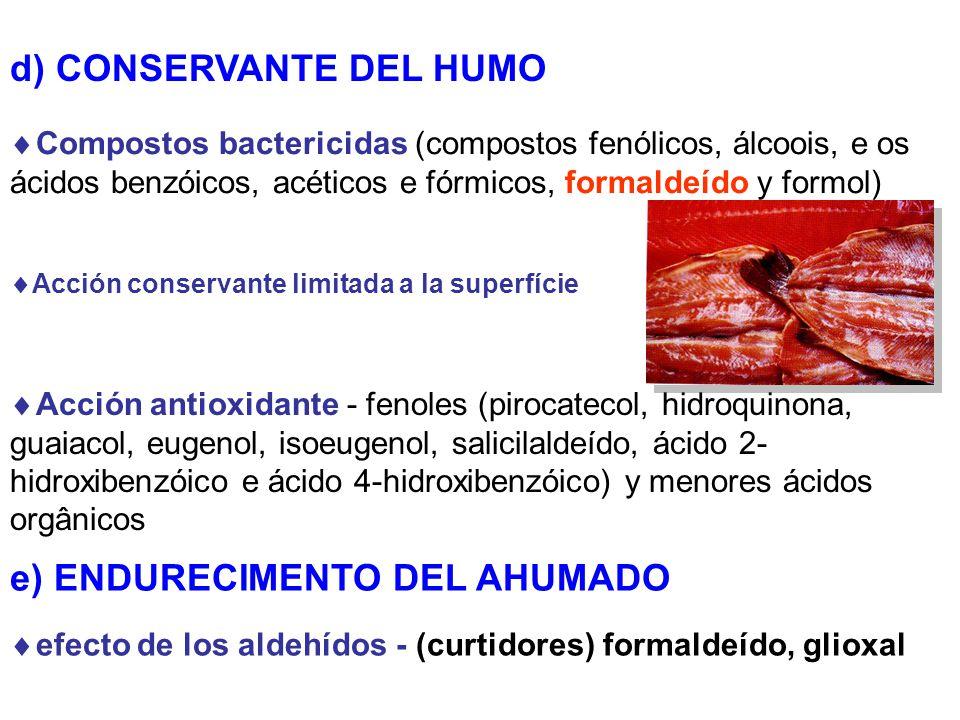 d) CONSERVANTE DEL HUMO Compostos bactericidas (compostos fenólicos, álcoois, e os ácidos benzóicos, acéticos e fórmicos, formaldeído y formol) Acción