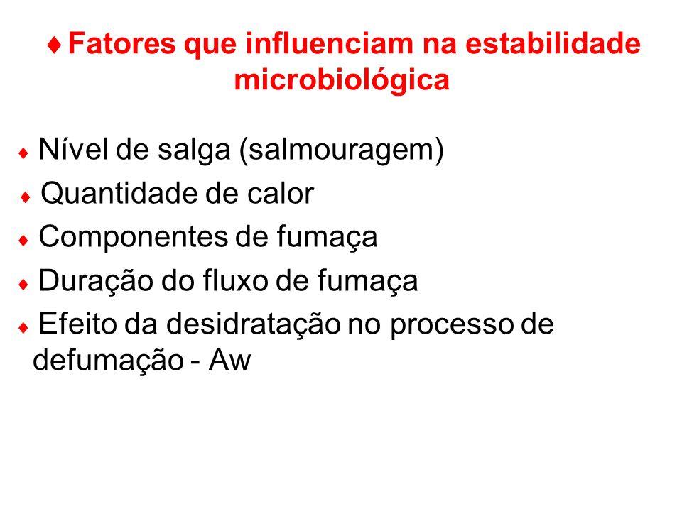 Fatores que influenciam na estabilidade microbiológica Nível de salga (salmouragem) Quantidade de calor Componentes de fumaça Duração do fluxo de fuma