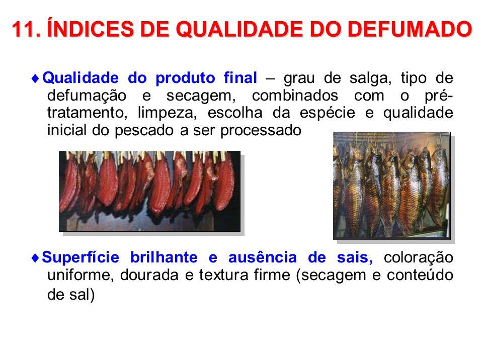 11. ÍNDICES DE QUALIDADE DO DEFUMADO Qualidade do produto final – grau de salga, tipo de defumação e secagem, combinados com o pré- tratamento, limpez