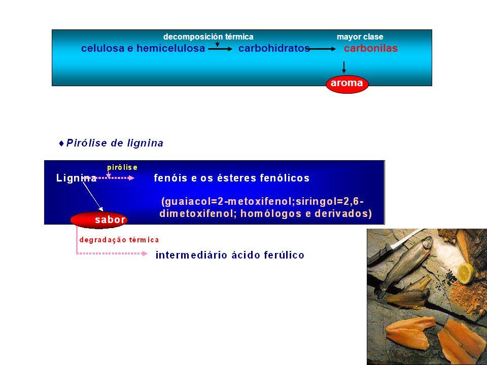 d) CONSERVANTE DEL HUMO Compostos bactericidas (compostos fenólicos, álcoois, e os ácidos benzóicos, acéticos e fórmicos, formaldeído y formol) Acción conservante limitada a la superfície Acción antioxidante - fenoles (pirocatecol, hidroquinona, guaiacol, eugenol, isoeugenol, salicilaldeído, ácido 2- hidroxibenzóico e ácido 4-hidroxibenzóico) y menores ácidos orgânicos e) ENDURECIMENTO DEL AHUMADO efecto de los aldehídos - (curtidores) formaldeído, glioxal