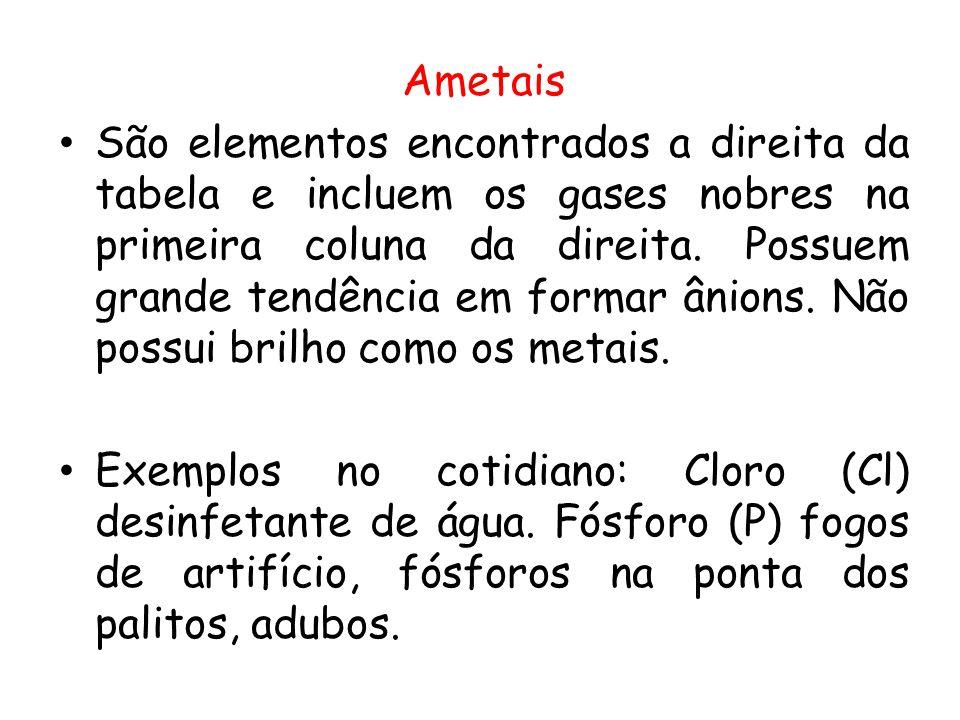 Ametais São elementos encontrados a direita da tabela e incluem os gases nobres na primeira coluna da direita. Possuem grande tendência em formar ânio