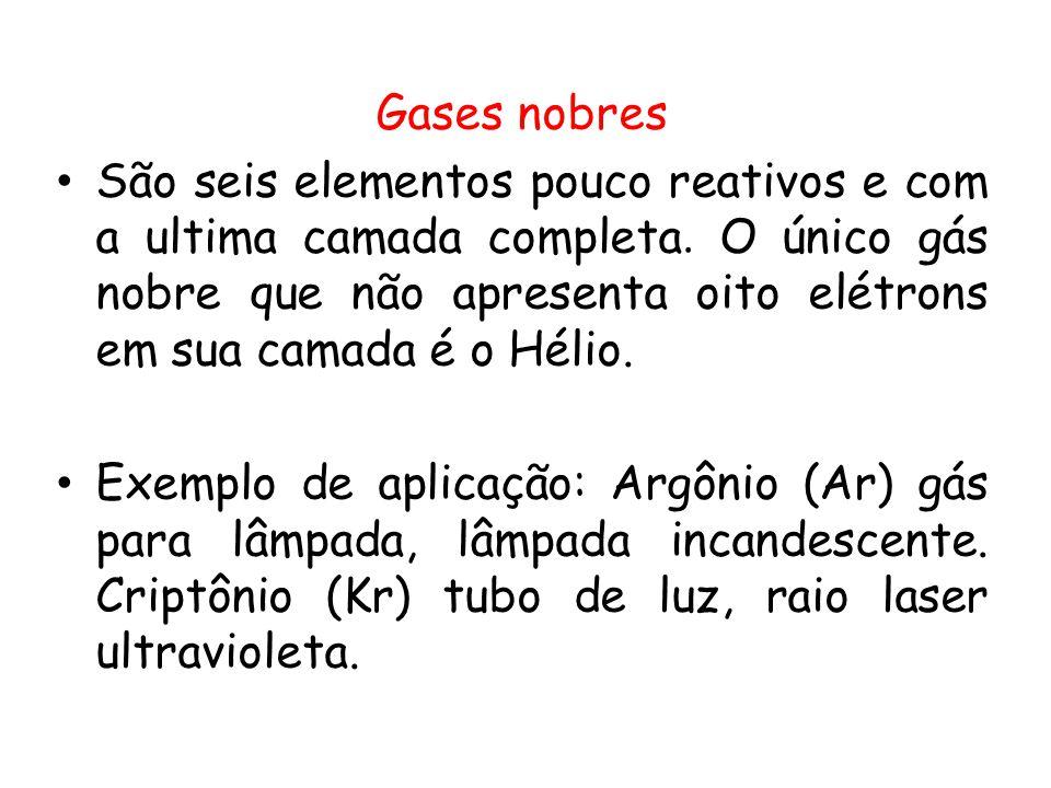 Gases nobres São seis elementos pouco reativos e com a ultima camada completa. O único gás nobre que não apresenta oito elétrons em sua camada é o Hél
