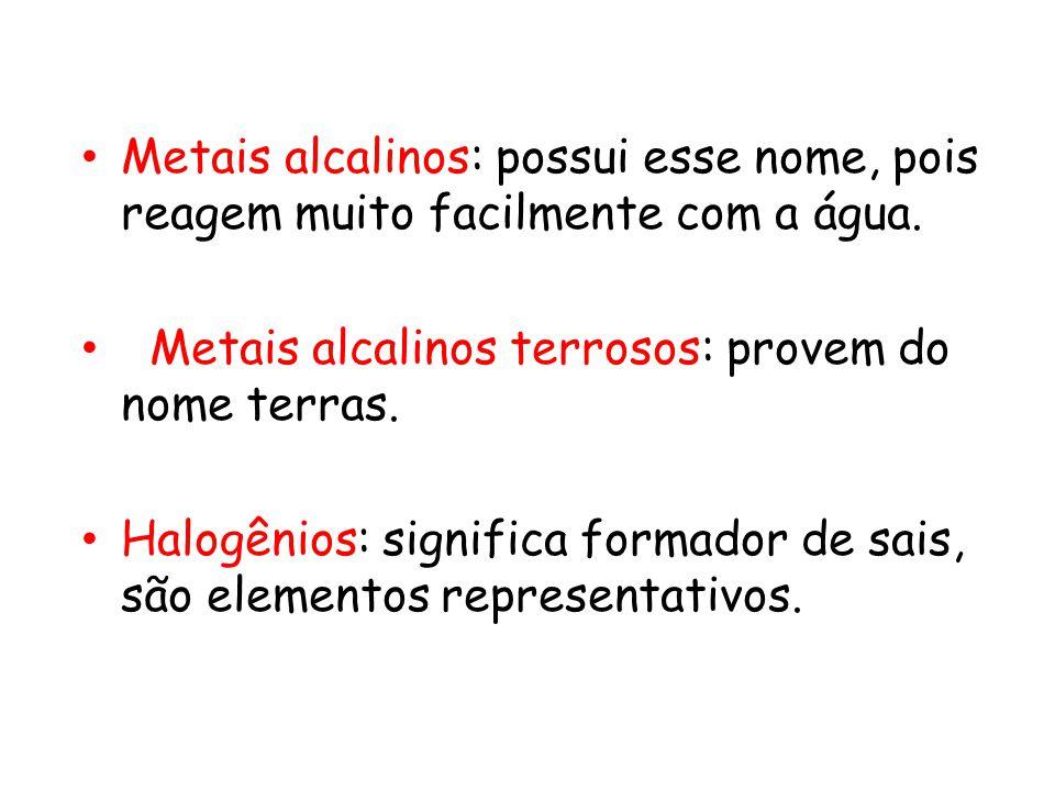 Metais alcalinos: possui esse nome, pois reagem muito facilmente com a água. Metais alcalinos terrosos: provem do nome terras. Halogênios: significa f