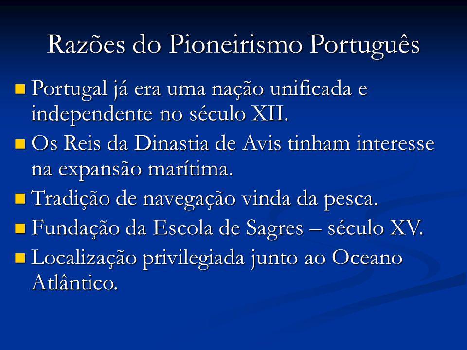 Razões do Pioneirismo Português Portugal já era uma nação unificada e independente no século XII.