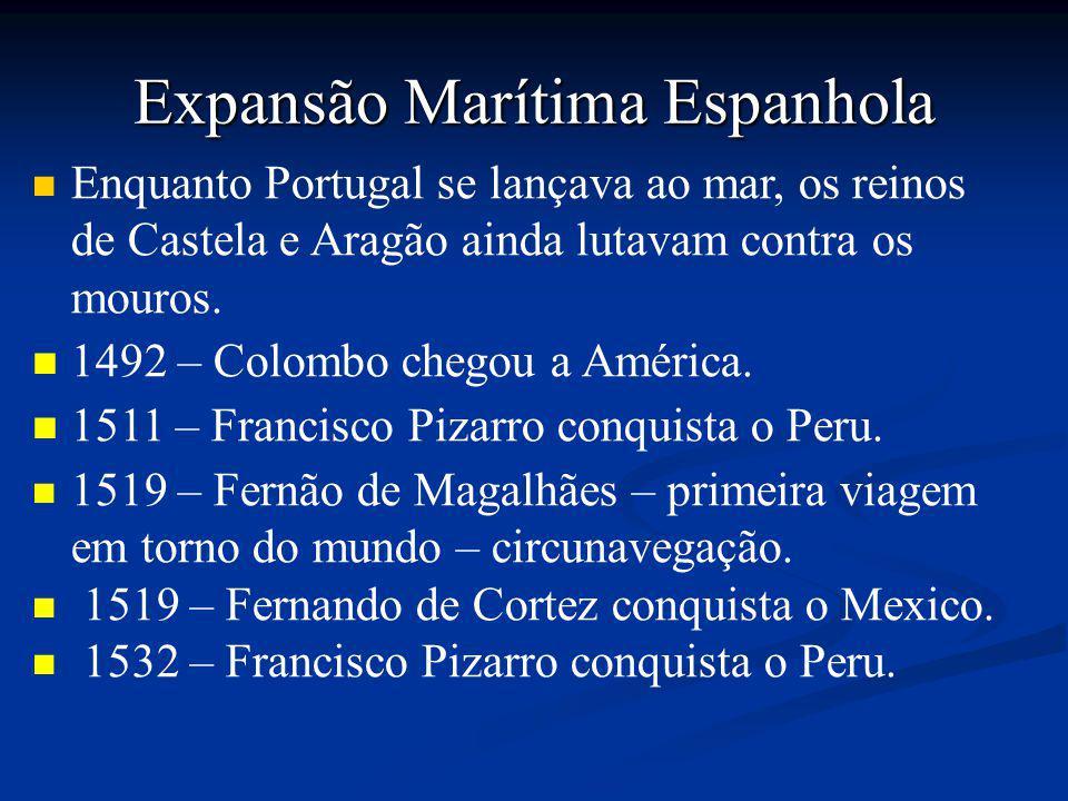 Expansão Marítima Espanhola Enquanto Portugal se lançava ao mar, os reinos de Castela e Aragão ainda lutavam contra os mouros.