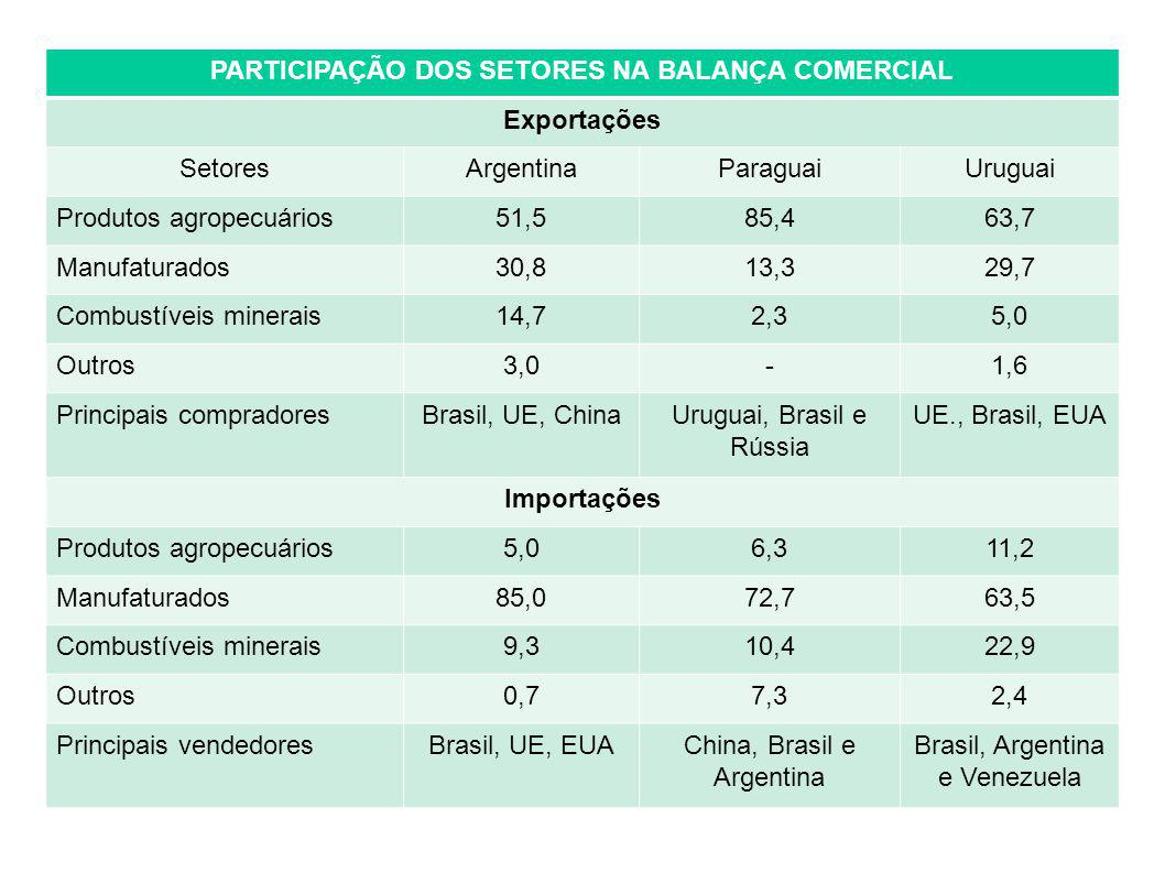 PARTICIPAÇÃO DOS SETORES NA BALANÇA COMERCIAL Exportações SetoresArgentinaParaguaiUruguai Produtos agropecuários51,585,463,7 Manufaturados30,813,329,7