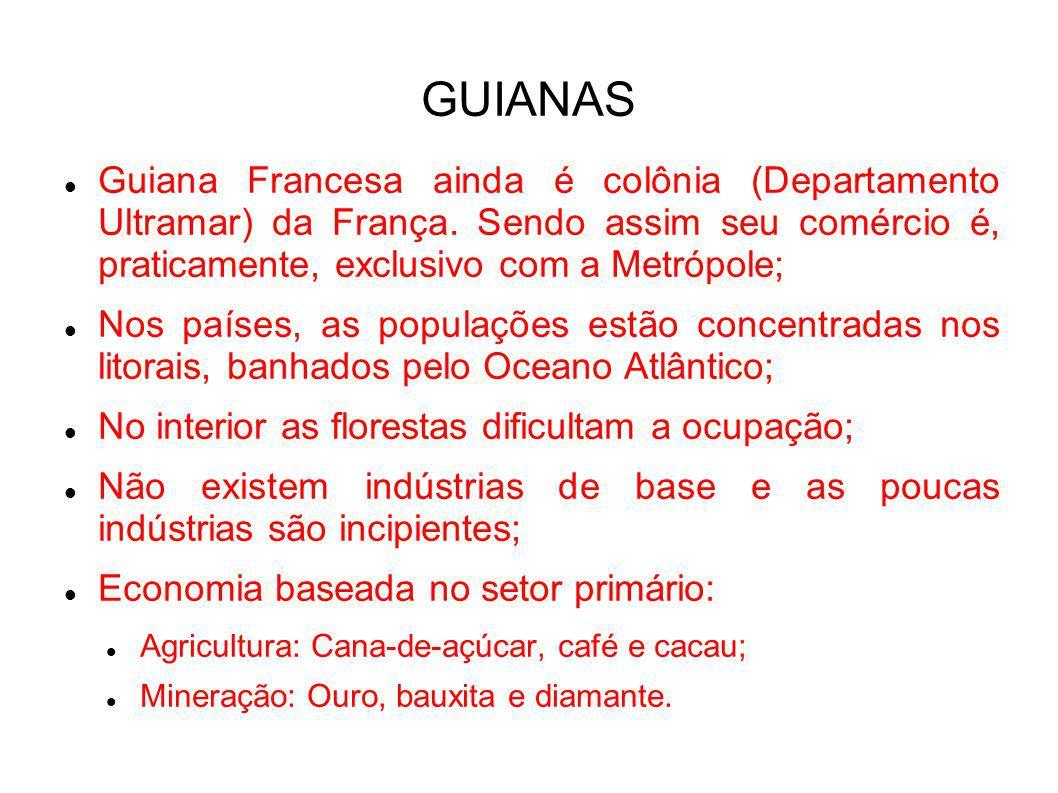 GUIANAS Guiana Francesa ainda é colônia (Departamento Ultramar) da França. Sendo assim seu comércio é, praticamente, exclusivo com a Metrópole; Nos pa
