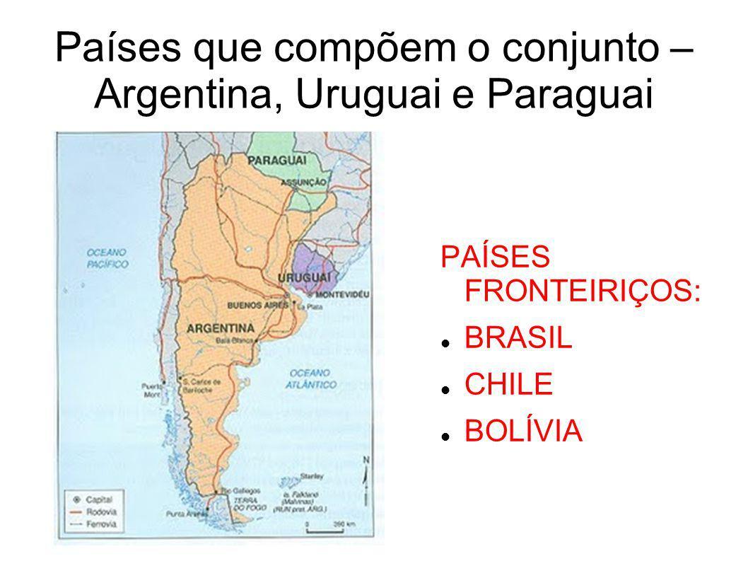 ARGENTINA E URUGUAI Agropecuária com aplicação de alta tecnologia na região dos pampas (AGROINDÚSTRIAS); Destaque para a produção de carne, trigo e soja; Na indústria predomina a alimentícia e a têxtil; Na Argentina o extrativismo mineral (Petroléo e Gás Natural) também é destaque na economia – região da Patagônia (região fria, seca e montanhosa); No Uruguai destaca-se a pecuária de ovinos para extração da lã (forte indústria têxtil);