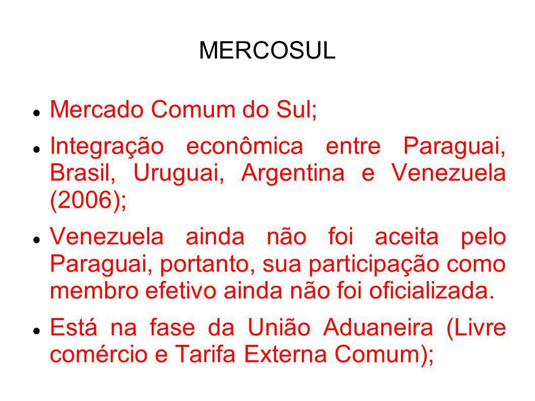 Mercado Comum do Sul; Integração econômica entre Paraguai, Brasil, Uruguai, Argentina e Venezuela (2006); Venezuela ainda não foi aceita pelo Paraguai