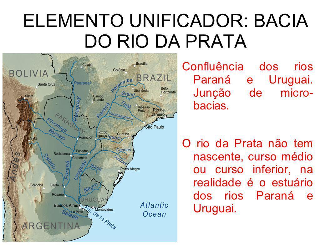 ELEMENTO UNIFICADOR: BACIA DO RIO DA PRATA Confluência dos rios Paraná e Uruguai. Junção de micro- bacias. O rio da Prata não tem nascente, curso médi