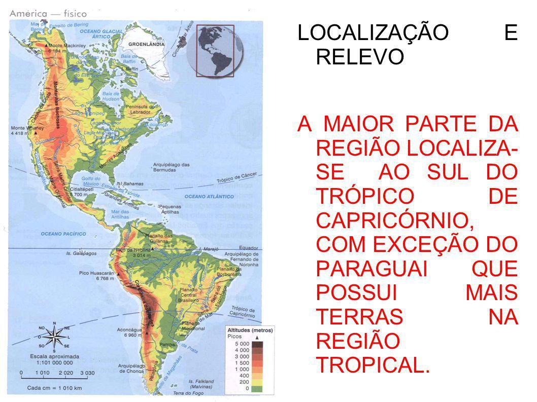 LOCALIZAÇÃO E RELEVO NO RELEVO PODEMOS VERIFICAR: ALTIPLANO ANDINO, DEPRESSÃO E PLANÍCIE.
