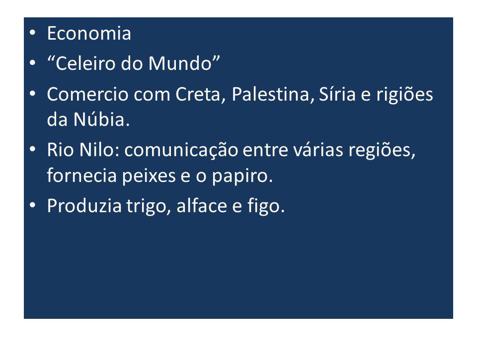 Economia Celeiro do Mundo Comercio com Creta, Palestina, Síria e rigiões da Núbia. Rio Nilo: comunicação entre várias regiões, fornecia peixes e o pap