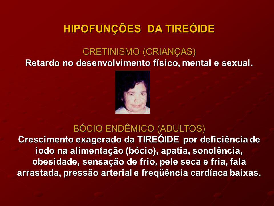 HIPOFUNÇÕES DA TIREÓIDE CRETINISMO (CRIANÇAS) Retardo no desenvolvimento físico, mental e sexual.