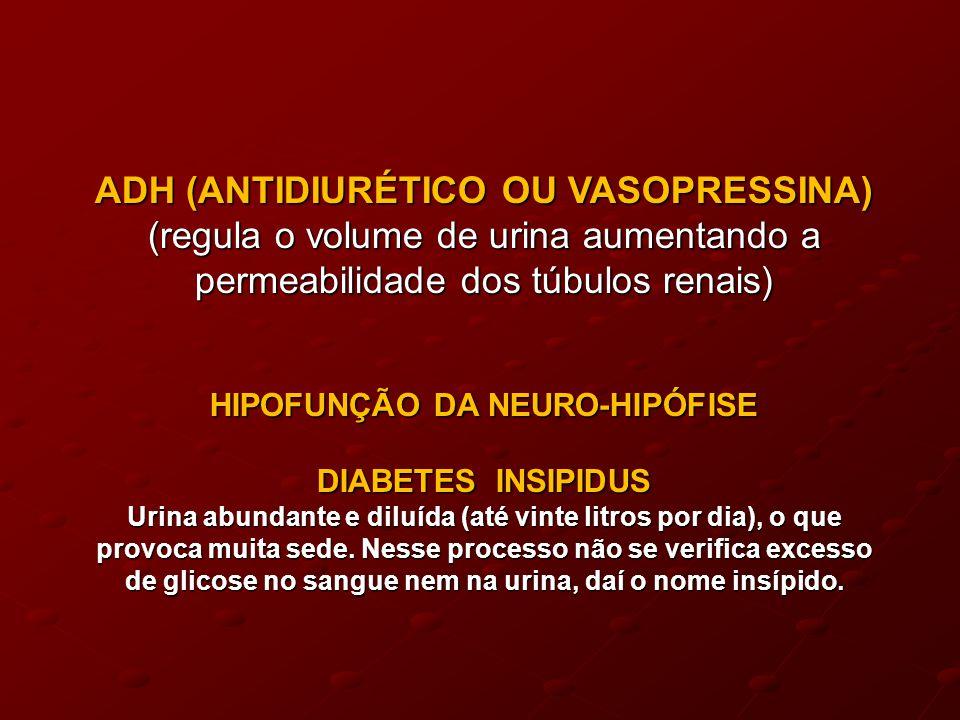 ADH (ANTIDIURÉTICO OU VASOPRESSINA) (regula o volume de urina aumentando a permeabilidade dos túbulos renais) HIPOFUNÇÃO DA NEURO-HIPÓFISE DIABETES INSIPIDUS Urina abundante e diluída (até vinte litros por dia), o que provoca muita sede.