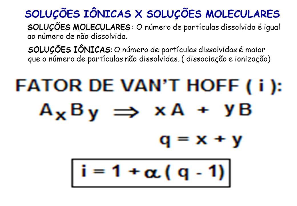 CÁLCULO DOS EFEITOS COLIGATIVOS EFEITO COLIGATIVO SOLUÇÃO MOLECULAR SOLUÇÃO IÔNICA TONOSCOPIA p/po = Kt.M p/po = Kt.M.i EBULIOSCOPIA Te = Ke.M Te = Ke.M.
