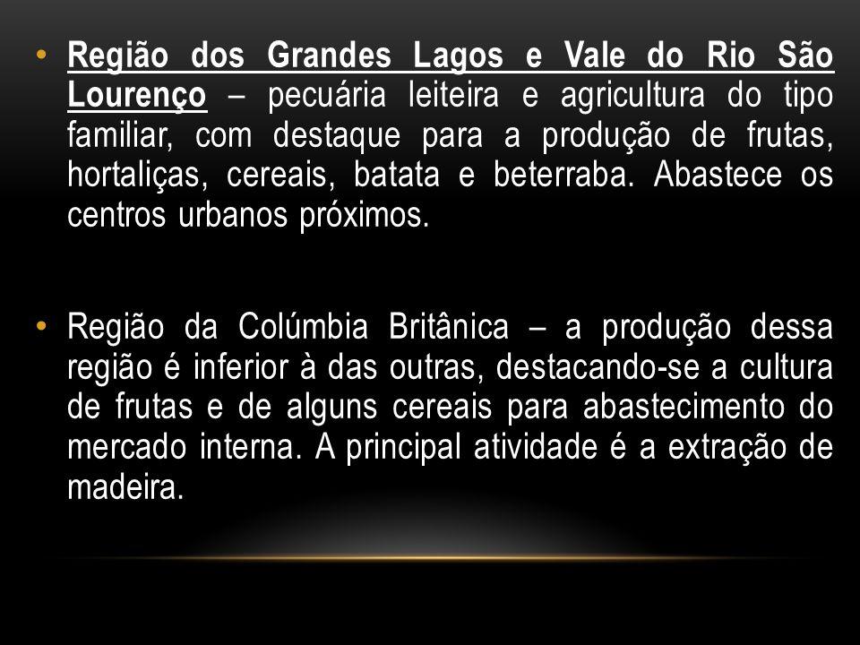 Região dos Grandes Lagos e Vale do Rio São Lourenço – pecuária leiteira e agricultura do tipo familiar, com destaque para a produção de frutas, hortal