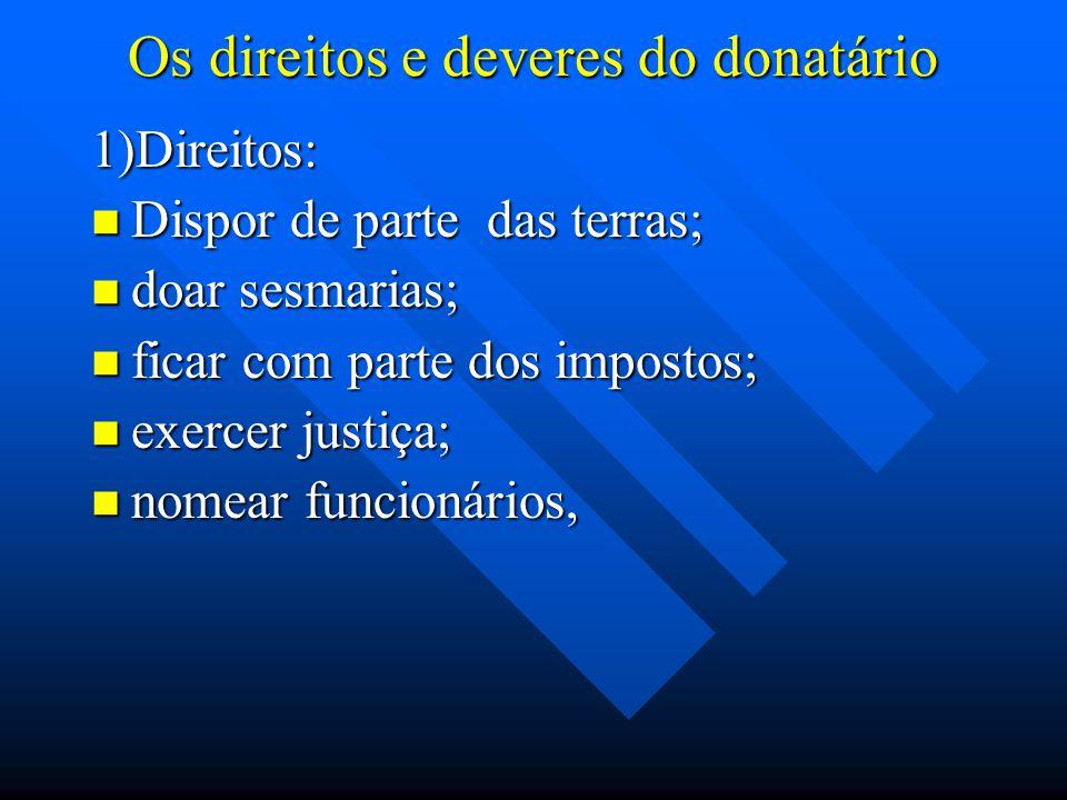 Os direitos e deveres do donatário 1)Direitos: Dispor de parte das terras; Dispor de parte das terras; doar sesmarias; doar sesmarias; ficar com parte