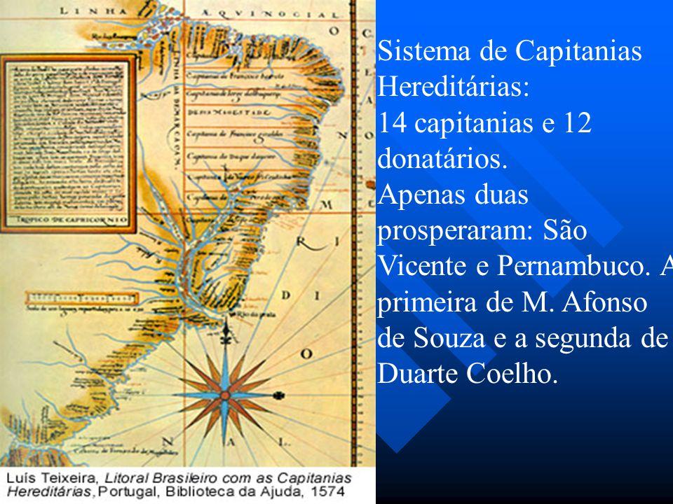 Sistema de Capitanias Hereditárias: 14 capitanias e 12 donatários. Apenas duas prosperaram: São Vicente e Pernambuco. A primeira de M. Afonso de Souza