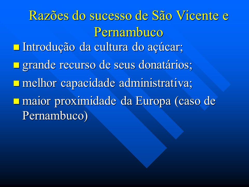 Razões do sucesso de São Vicente e Pernambuco Introdução da cultura do açúcar; Introdução da cultura do açúcar; grande recurso de seus donatários; gra