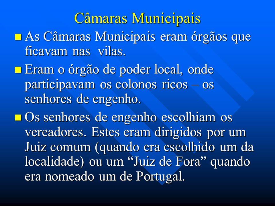 Câmaras Municipais As Câmaras Municipais eram órgãos que ficavam nas vilas. As Câmaras Municipais eram órgãos que ficavam nas vilas. Eram o órgão de p