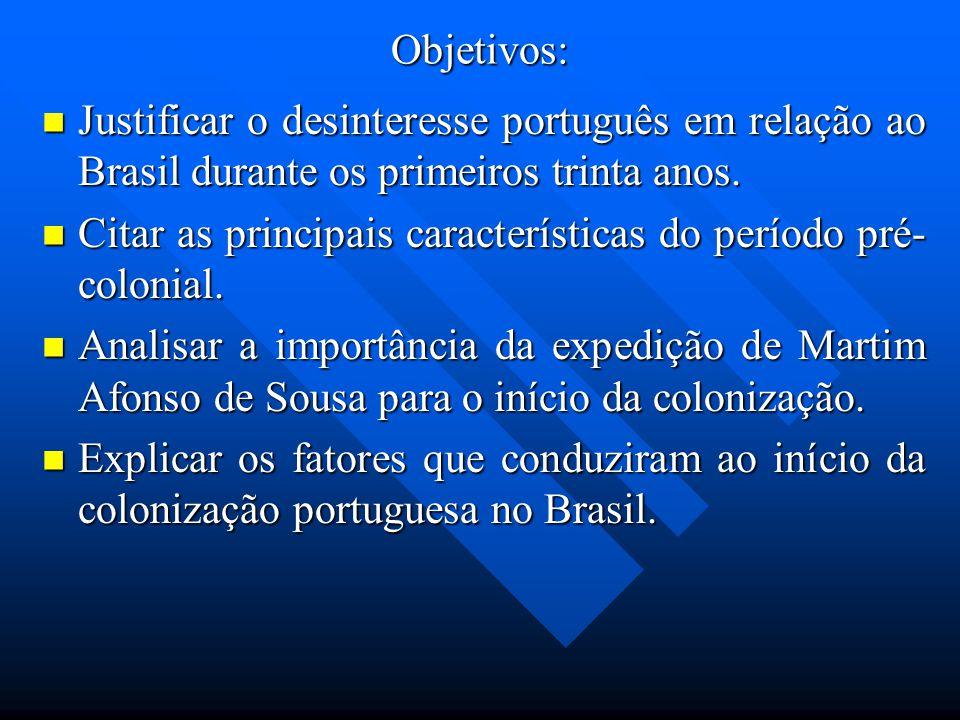 Objetivos: Justificar o desinteresse português em relação ao Brasil durante os primeiros trinta anos. Justificar o desinteresse português em relação a